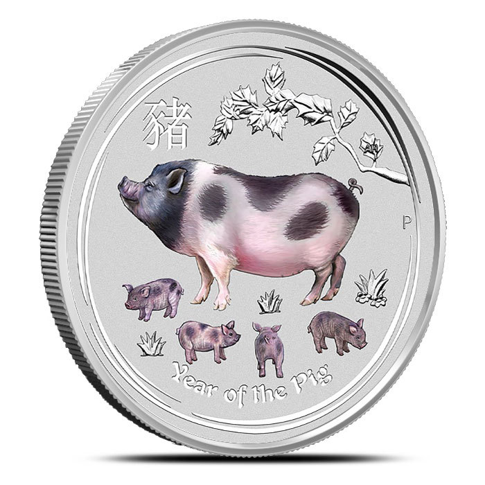 colorized australian lunar pig  oz silver coin bu provident metals