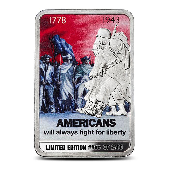 oz silver americans   fight  liberty bar provident metals