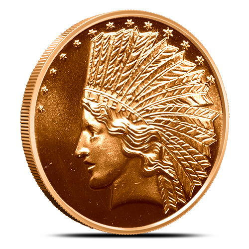 1 oz copper coin Native American Indian series # 1 copper bullion round