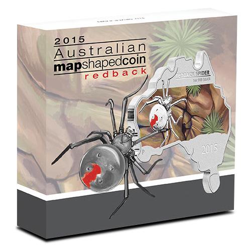 2015 Australia Map Shaped Series Redback Spider 1oz Silver Coin Perth COA /& Box!