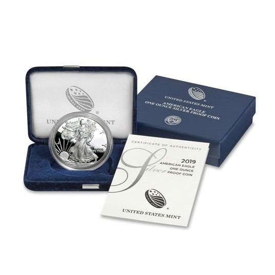 2019 Proof American Silver Eagle Box & COA Alternate