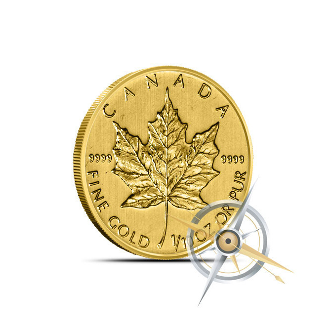 2014 1/10 Ounce Canadian Gold Maple Leaf Coin Reverse