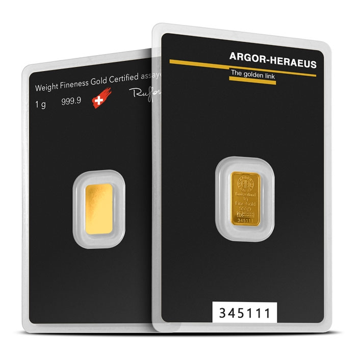 1 gram Gold Bar | Argor-Heraeus