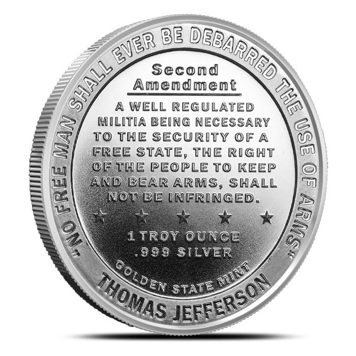 1 oz Silver Second Amendment Round Back