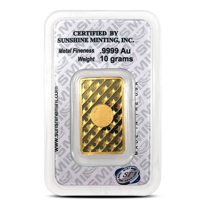 Sunshine Minting 10 gram Gold Bar in Assay Card