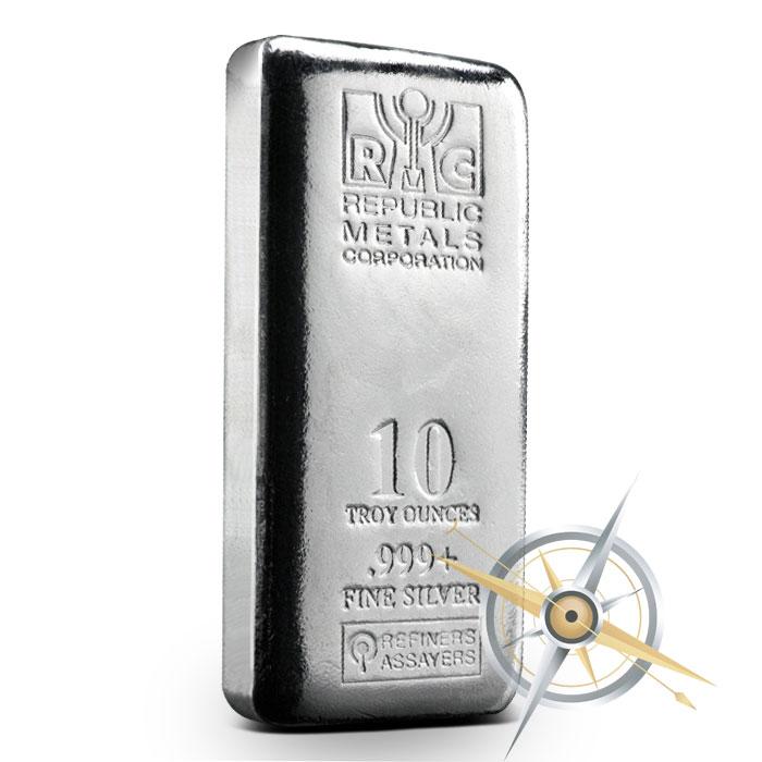 buy republic metals  oz cast silver bar  shipping provident