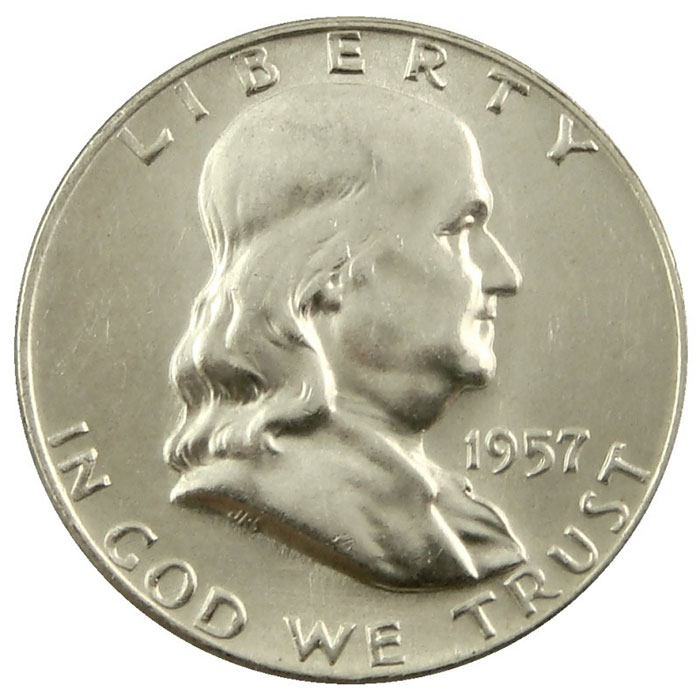 1957 D Franklin Half Dollar Coin Obverse