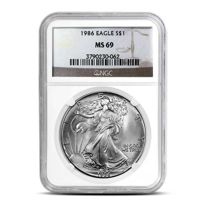 NGC MS69 1986 American Silver Eagle Coin Obverse