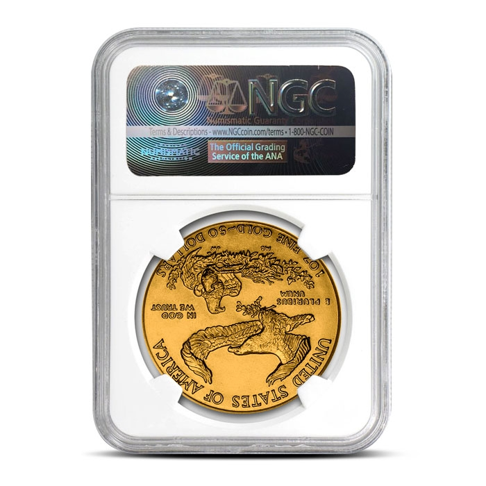 1987 1 oz Gold American Eagle | NGC MS70 Reverse