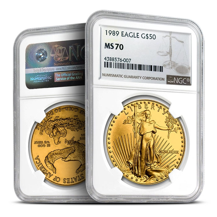 1989 1 oz Gold American Eagle | NGC MS70
