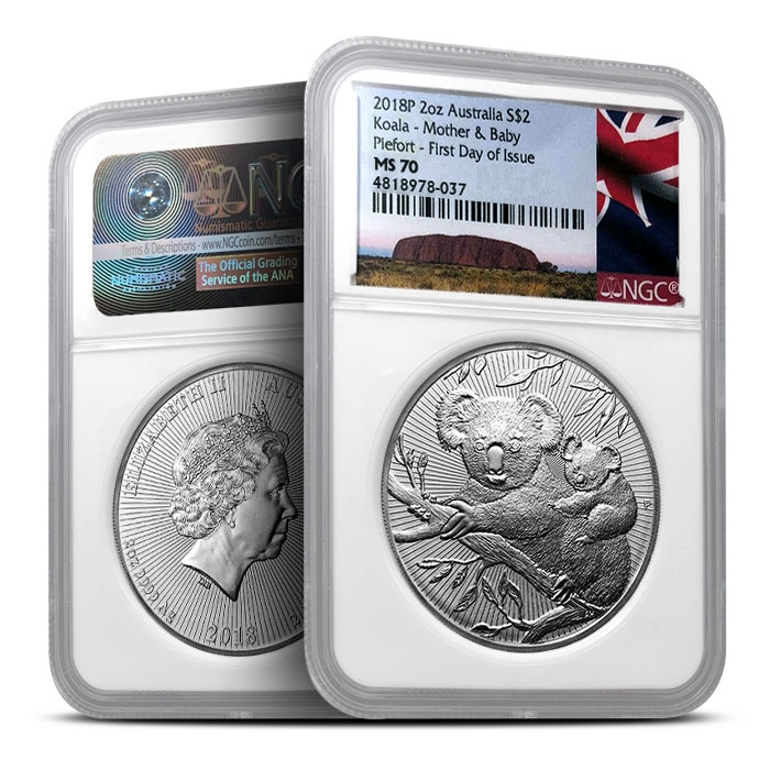 2018 Australian 2 oz Koala | NGC MS70 First Day of Issue