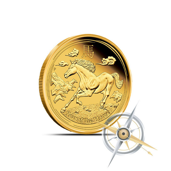 2014 1/10 oz Gold Lunar Year of the Horse Coin | Series 2 Obverse