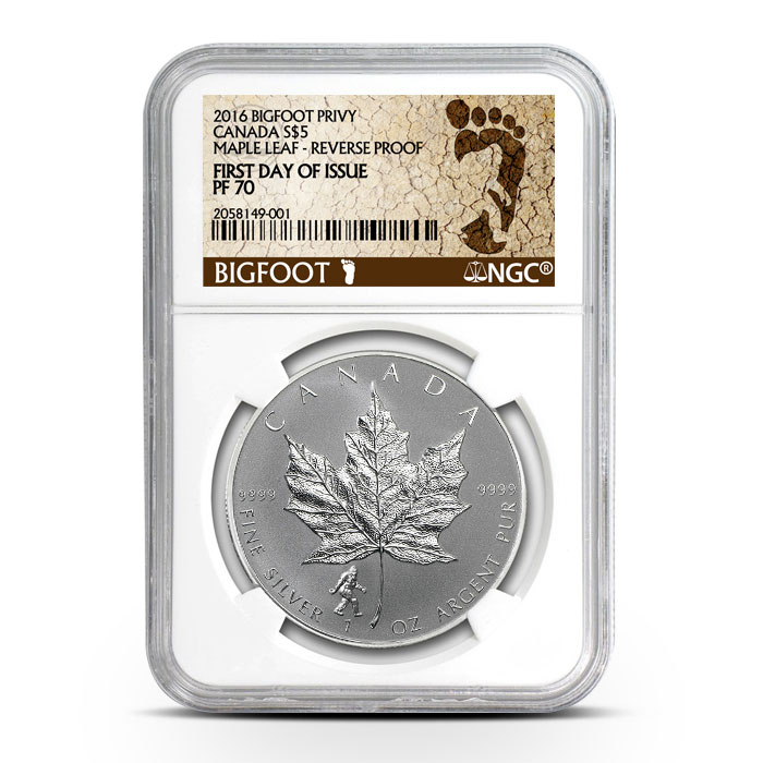 2016 Canadian Silver Maple Bigfoot Privy | NGC Proof PF70