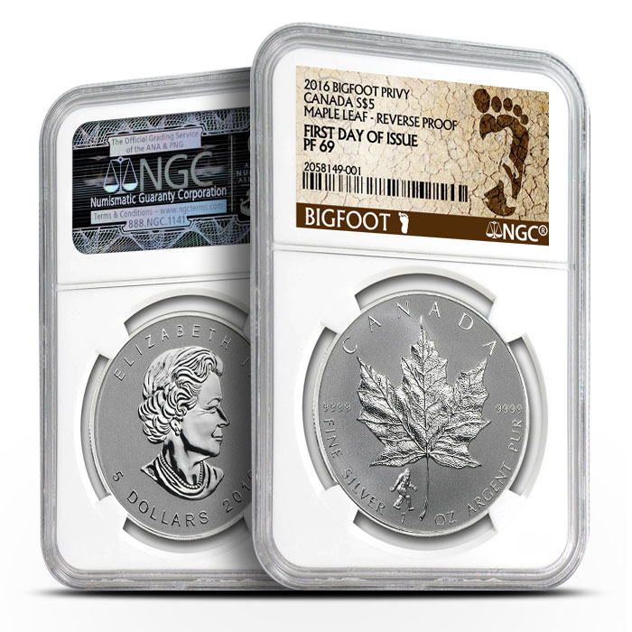 2016 Canadian Silver Maple Bigfoot Privy - First Day of Issue | NGC Proof PF69