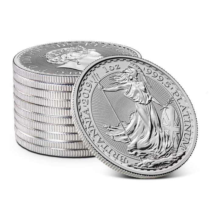Stack of 2019 British 1 oz Platinum Britannia