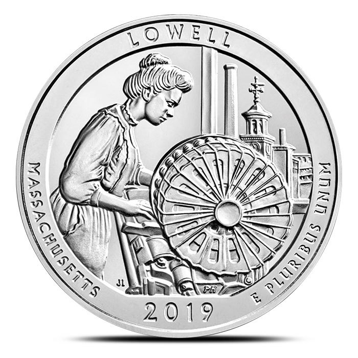2019 5 oz Silver ATB Lowell National Historical Park, MA Reverse