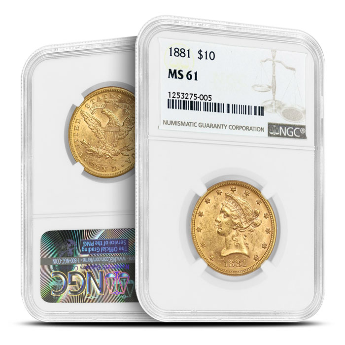 $10 Gold Liberty NGC MS61