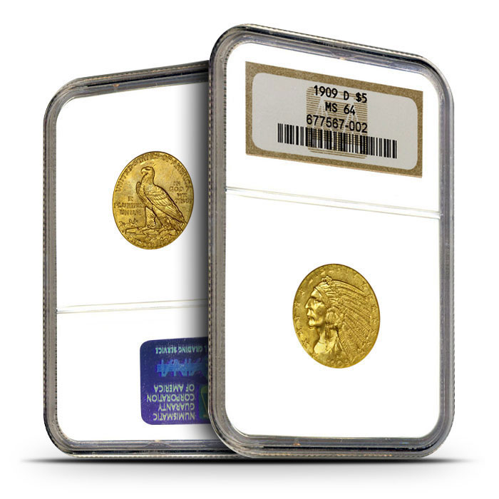 $5 Indian Head Gold Half Eagle | NGC MS64