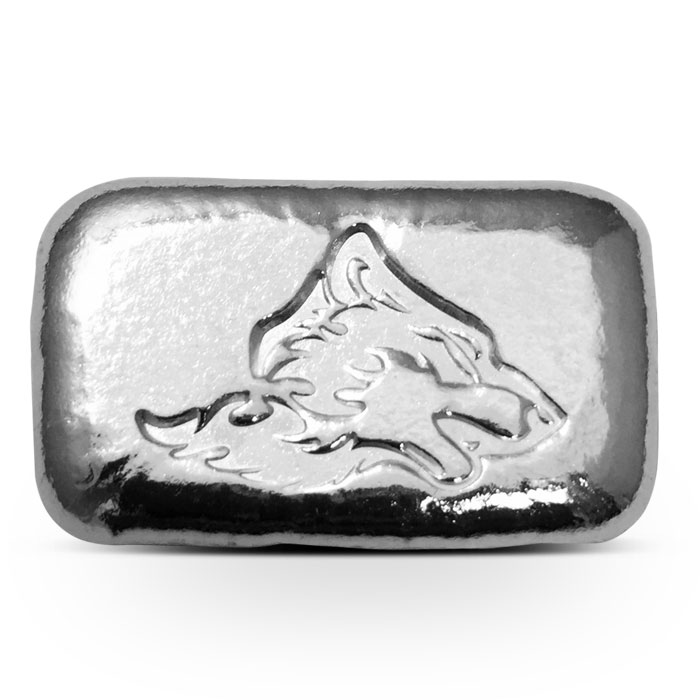 1 oz Atlantis Mint Double Sided Wolf Silver Bar