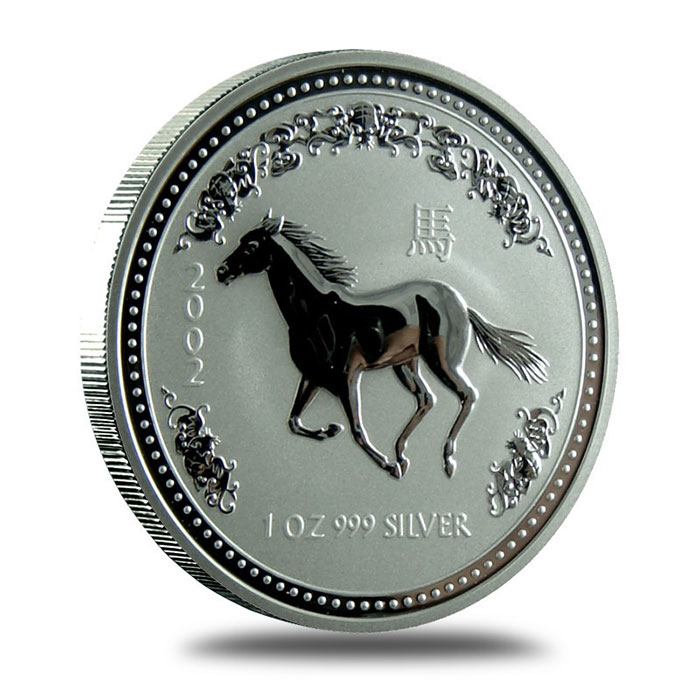 Perth Mint Lunar Series 1 2002 1 oz Silver Year of the Horse Bullion Coin