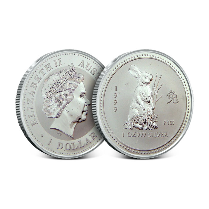 Off Quality 1999 Year of the Rabbit 1 oz Silver Perth Lunar Series 1