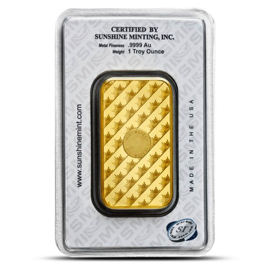 Sunshine Mint 1 oz SMI Gold Bars Reverse