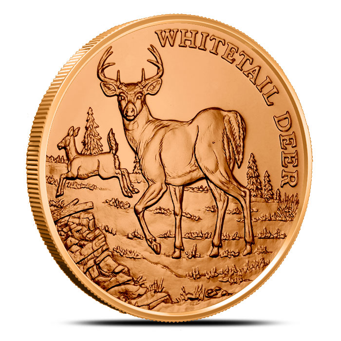 Whitetail Deer 1 oz Copper Round | American Wildlife Sereies