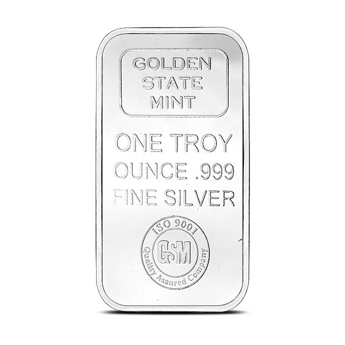 1 oz Silver Bar Golden State Mint Front