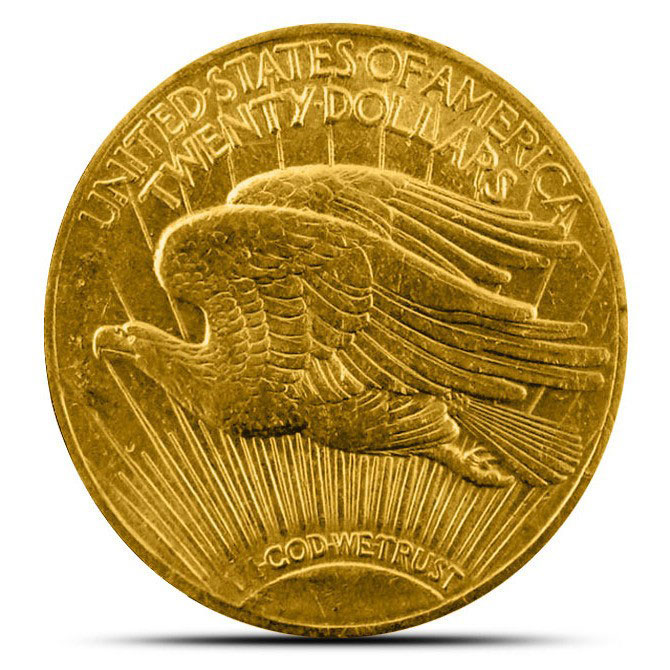 $20 Saint Gaudens US Mint Gold Double Eagle XF+ Reverse