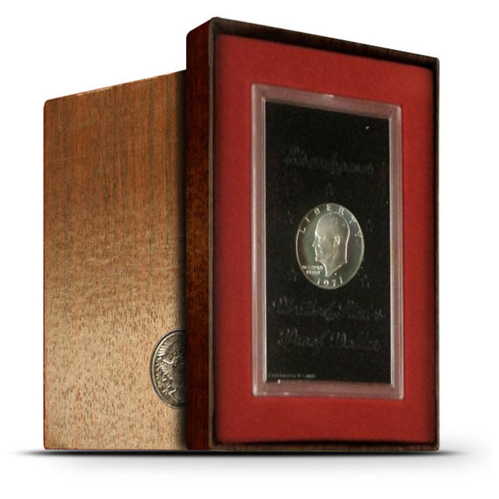 "1971 S 40% Silver PROOF ""Brown"" Eisenhower Ike Dollar Coin"