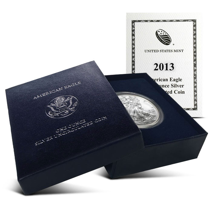 2013 W Burnished American Silver Eagle with Box