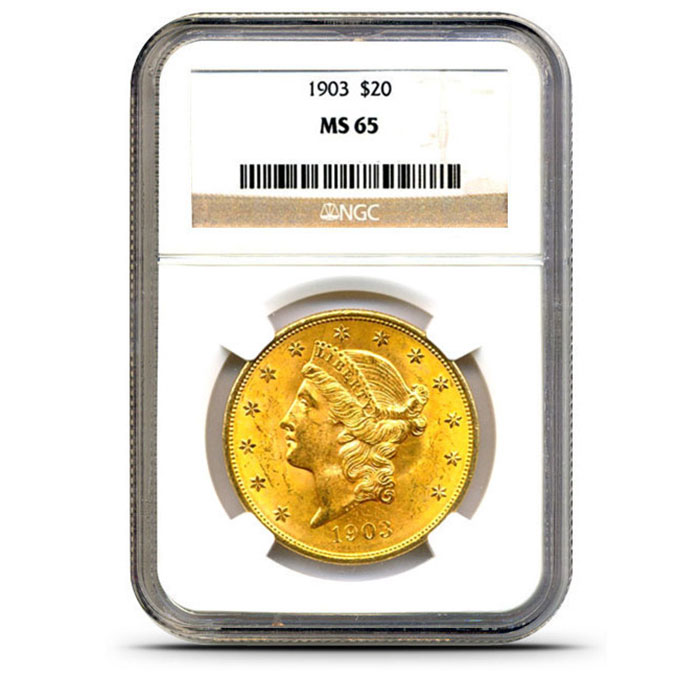 $20 Liberty NGC MS65 Gold Double Eagle Coin Slabbed