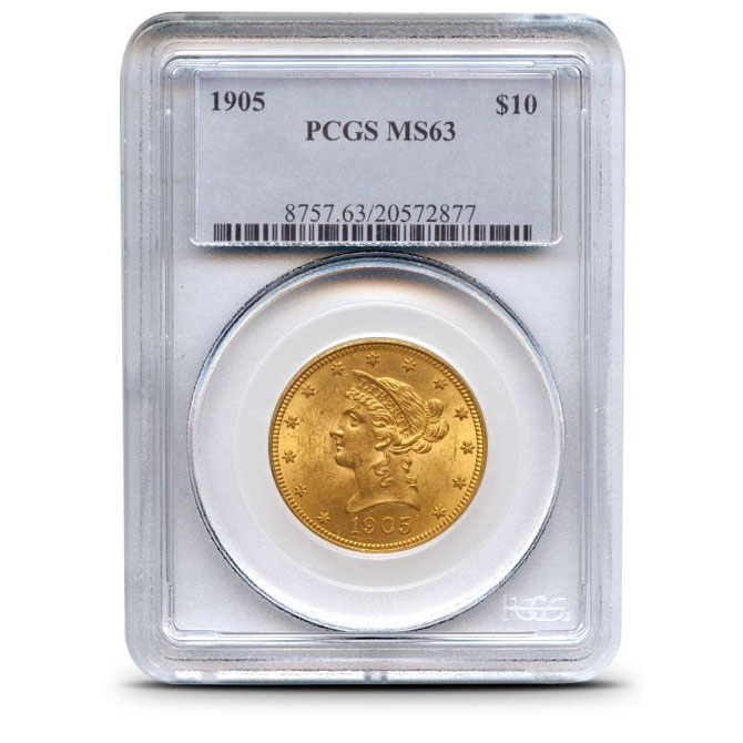 $10 Liberty PCGS MS63 Gold Eagle Coin Obverse