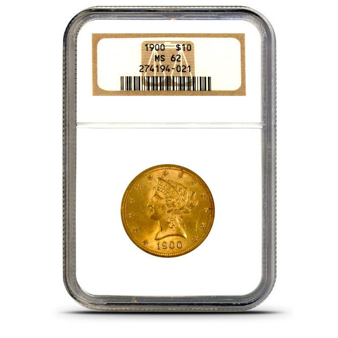 $10 Liberty NGC MS62 Gold Eagle Coin Slabbed