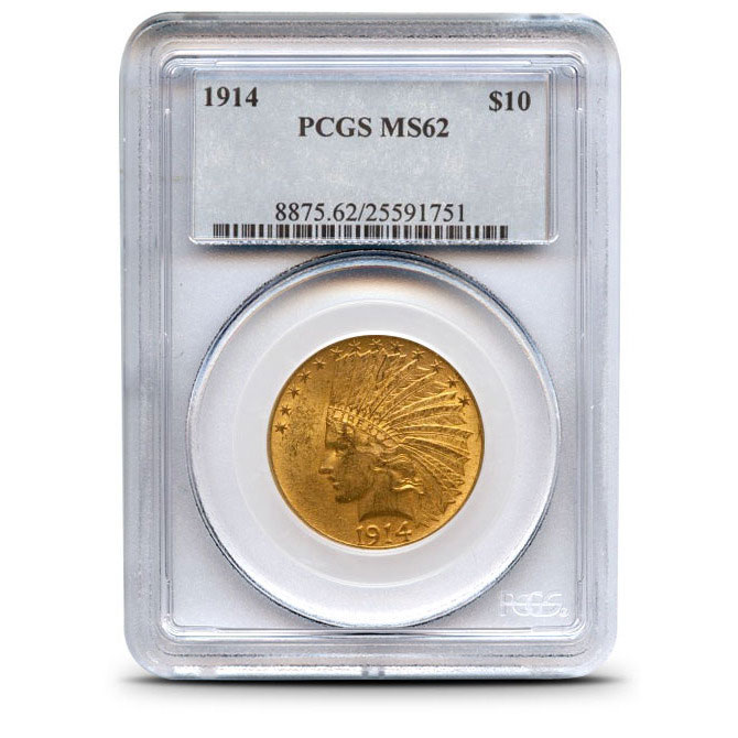 $10 Indian Head PCGS MS62 Gold Eagle Coin Obverse