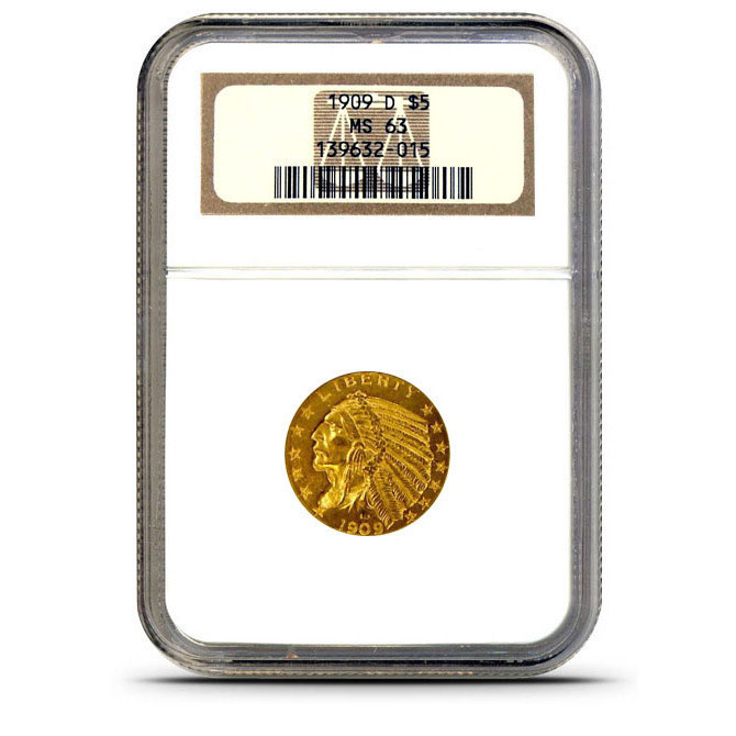 $5 Indian Head NGC MS63 Gold Half Eagle Coin Obverse