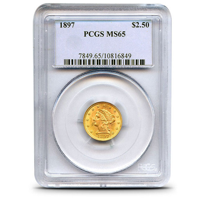$2.50 Indian Head PCGS MS65 Gold Quarter Eagle Coin Slabbed