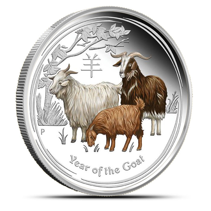 2015 Australian Year of the Goat 1 oz Colorized Silver Proof Coin | Lunar Series II