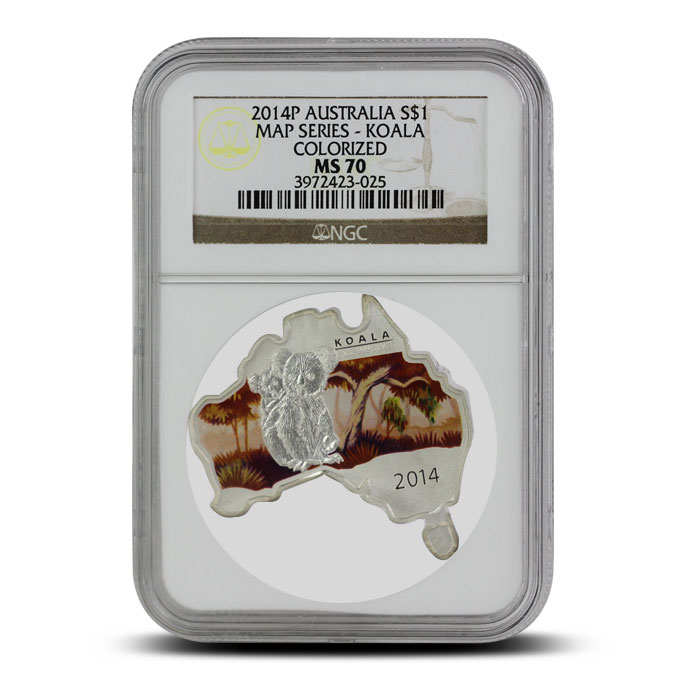 2014 Australian Map-Shaped Koala 1 oz Silver | NGC MS70 Obverse