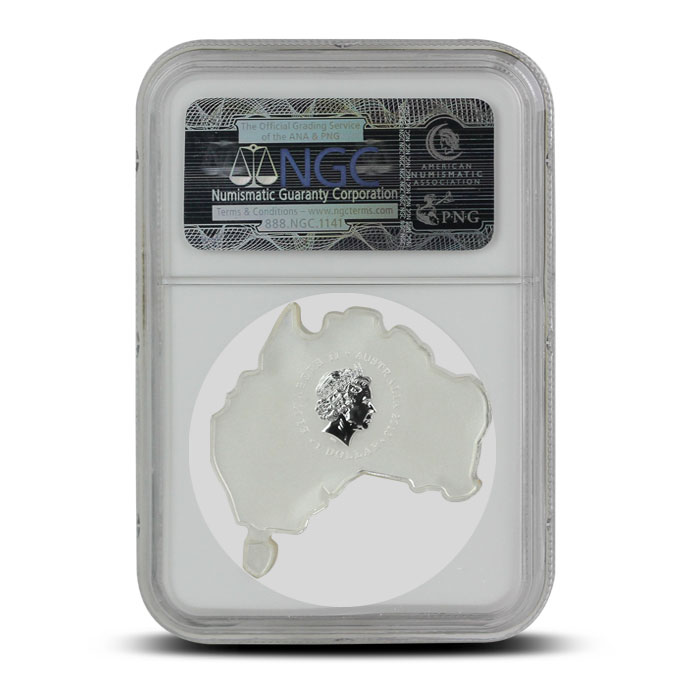 2014 Australian Map-Shaped Koala 1 oz Silver | NGC MS70 Reverse