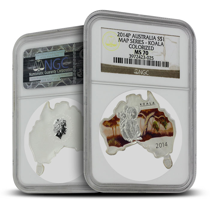 2014 Australian Map-Shaped Koala 1 oz Silver | NGC MS70