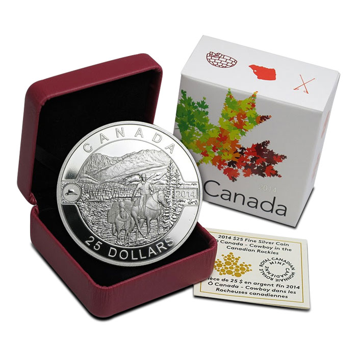 2014 1 oz Silver Proof Canadian Cowboy | 2014 O Canada Series Box