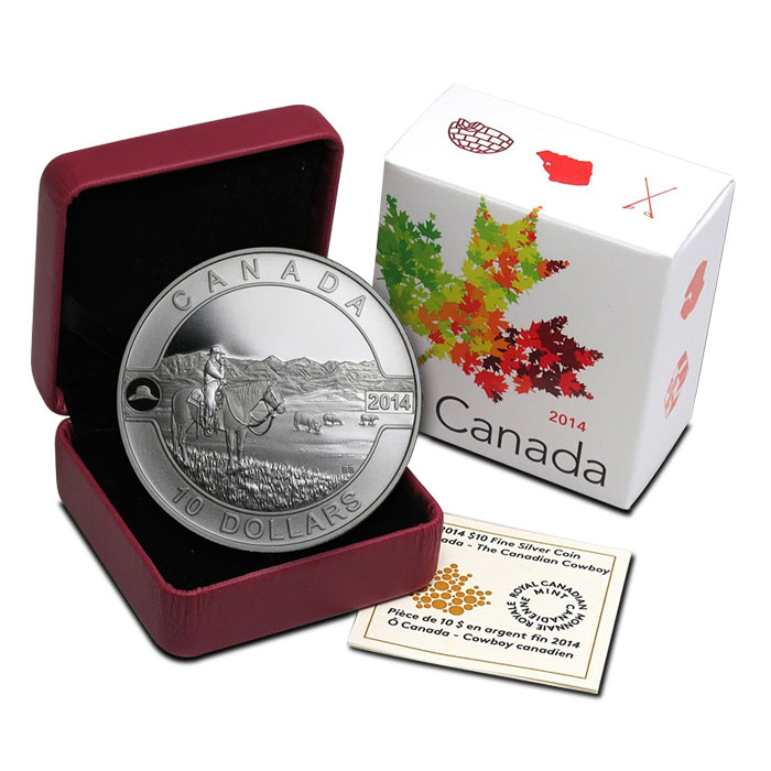2014 1/2 oz Silver Canadian Cowboy | 2014 O Canada Series Box