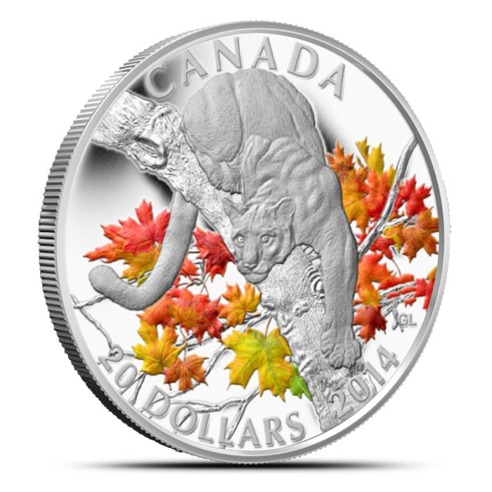 2014 1 oz $20 Silver Cougar | Perched on a Maple