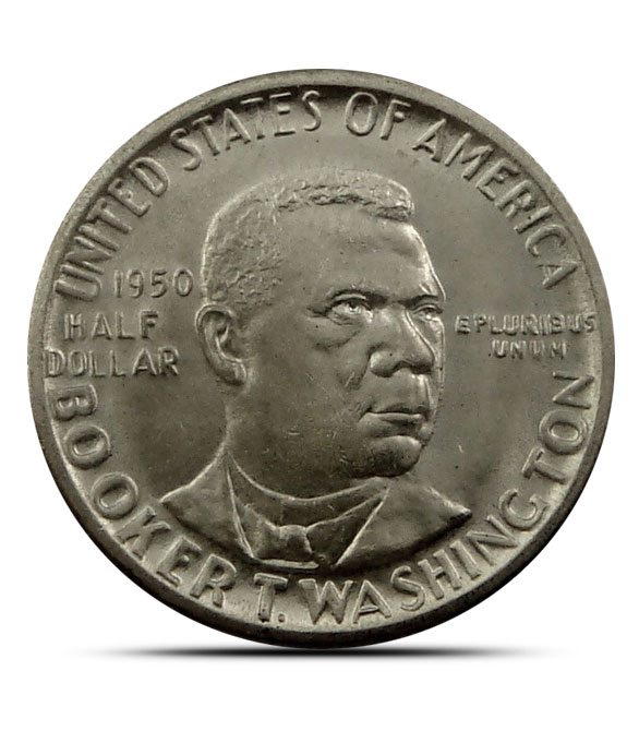 AU+ Booker T. Washington Silver Half Dollar