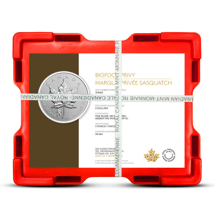2016 one ounce Canadian Silver Maple Leaf Bigfoot Privy | Monster Box