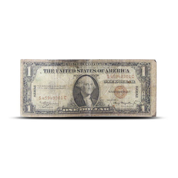 1935 Hawaii $1 Silver Certificate | World War II Emergency Issue | Cull Front