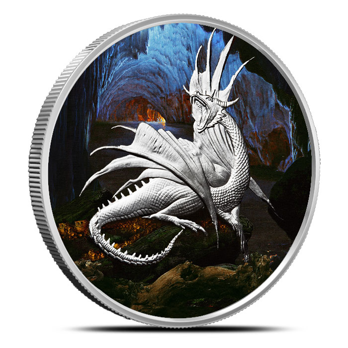 Colorized Silver Nidhoggr Coin | Nordic Creatures