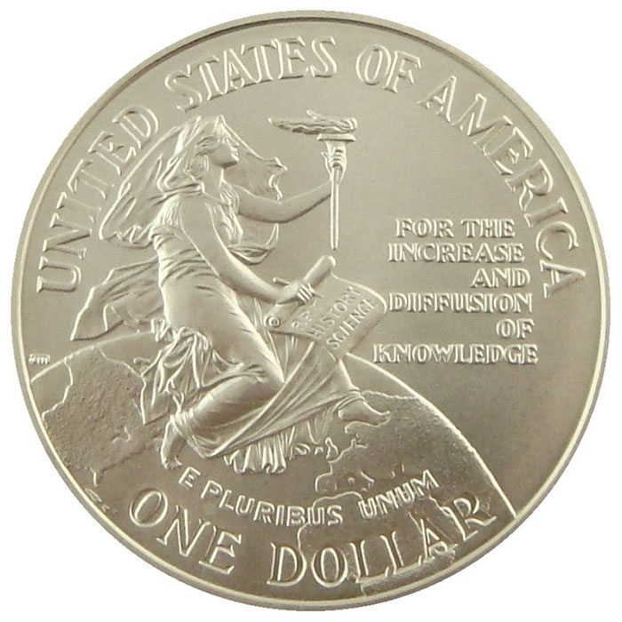 1996 D Smithsonian 150th Anniversary BU Commemerative Silver Dollar Coin Obverse