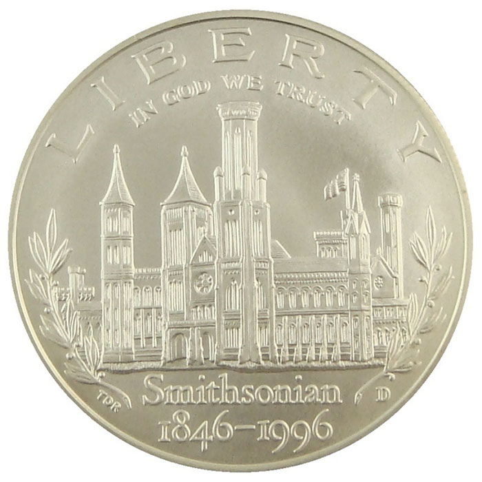 1996 D Smithsonian 150th Anniversary Commemerative BU Silver Dollar Coin Reverse